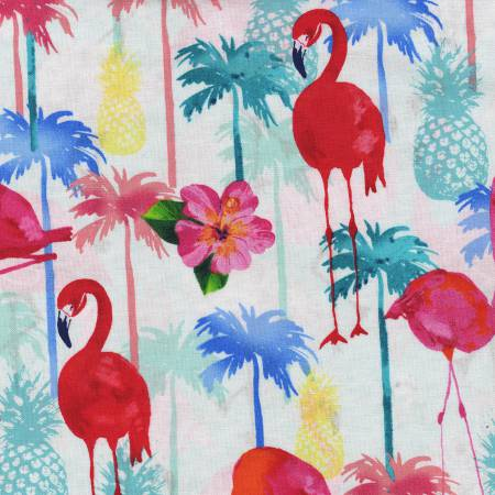 Tropical Flamingos C4749-WHT